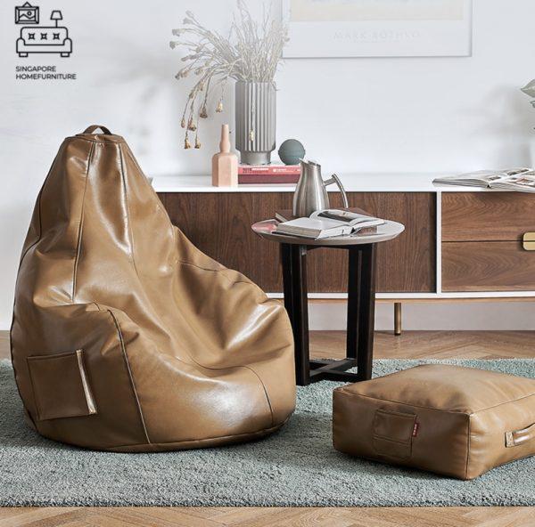 Prerov Leather Bean Bag Singapore SingaporeHomeFurniture
