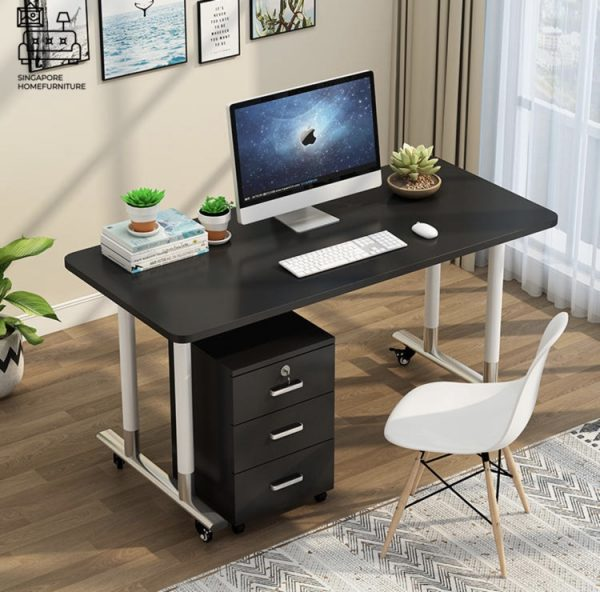 Mielec Computer Table with Wheels Singapore SingaporeHomeFurniture